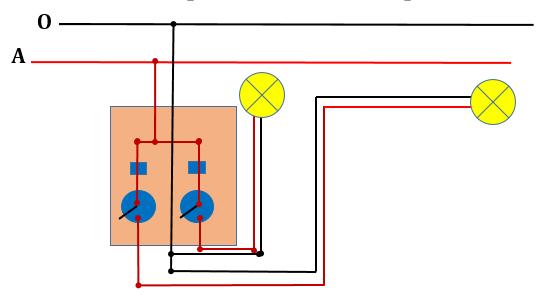 Hình 2. Sơ đồ lắp đặt mạch điện hai công tắc hai cực điều khiển hai đèn  theo cách 1