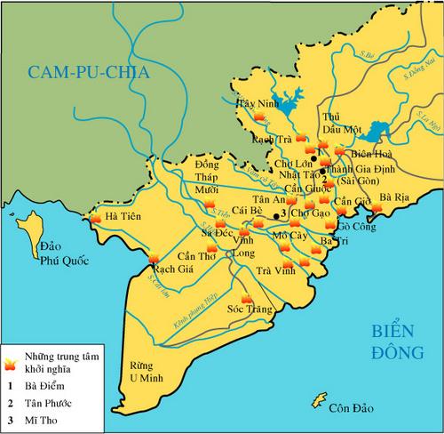 Lược đồ những địa điểm nổ ra khởi nghĩa ở Nam Kì (1860 - 1975)